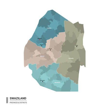 Swaziland (Eswatini) higt detailed map with subdivisions. Administrative map of Swaziland (Eswatini) with districts and cities name, colored by states and administrative districts. Vector illustration with editable and labelled layers.