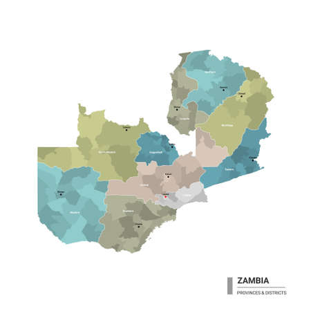Zambia higt detailed map with subdivisions. Administrative map of Zambia with districts and cities name, colored by states and administrative districts. Vector illustration with editable and labeled layers.