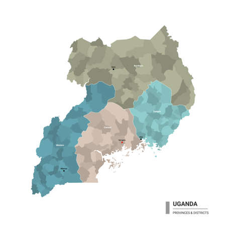 Uganda higt detailed map with subdivisions. Administrative map of Uganda with districts and cities name, colored by states and administrative districts. Vector illustration with editable and labeled layers. Ilustração