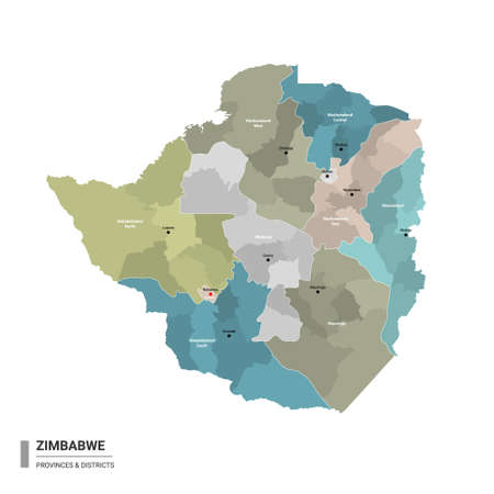 Zimbabwe higt detailed map with subdivisions. Administrative map of Zimbabwe with districts and cities name, colored by states and administrative districts. Vector illustration with editable and labelled layers.
