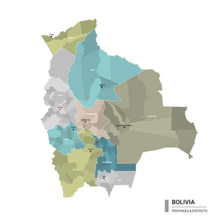 Bolivia higt detailed map with subdivisions. Administrative map of Bolivia with districts and cities name, colored by states and administrative districts. Vector illustration.