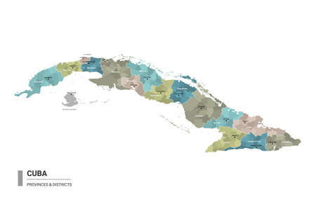 Cuba higt detailed map with subdivisions. Administrative map of Cuba with districts and cities name, colored by states and administrative districts. Vector illustration. Ilustração