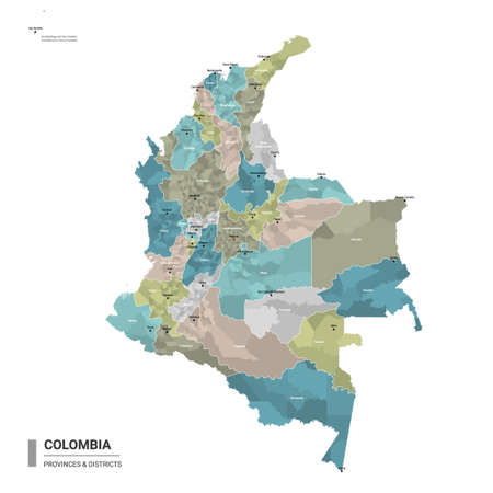 Colombia higt detailed map with subdivisions. Administrative map of Colombia with districts and cities name, colored by states and administrative districts. Vector illustration. Foto de archivo - 159122816