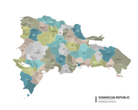 Dominican Republic higt detailed map with subdivisions. Administrative map of Dominican Republic with districts and cities name, colored by states and administrative districts. Vector illustration.