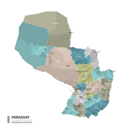 Paraguay higt detailed map with subdivisions. Administrative map of Paraguay with districts and cities name, colored by states and administrative districts. Vector illustration.