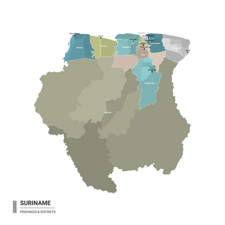 Suriname higt detailed map with subdivisions. Administrative map of Suriname with districts and cities name, colored by states and administrative districts. Vector illustration.