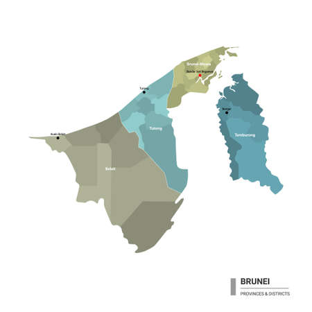 Brunei higt detailed map with subdivisions. Administrative map of Brunei with districts and cities name, colored by states and administrative districts. Vector illustration.