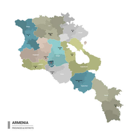Armenia higt detailed map with subdivisions. Administrative map of Armenia with districts and cities name, colored by states and administrative districts. Vector illustration.