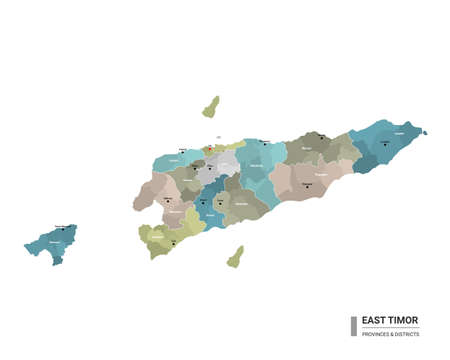 East Timor higt detailed map with subdivisions. Administrative map of East Timor with districts and cities name, colored by states and administrative districts. Vector illustration. Ilustração