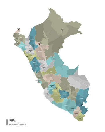 Peru higt detailed map with subdivisions. Administrative map of Peru with districts and cities name, colored by states and administrative districts. Vector illustration. Illustration