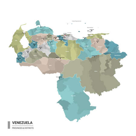 Venezuela higt detailed map with subdivisions. Administrative map of Venezuela with districts and cities name, colored by states and administrative districts. Vector illustration.