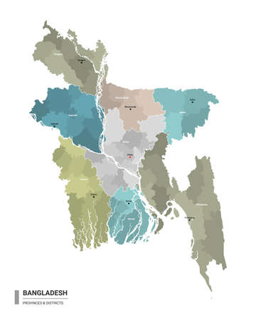 Bangladesh higt detailed map with subdivisions. Administrative map of Bangladesh with districts and cities name, colored by states and administrative districts. Vector illustration.