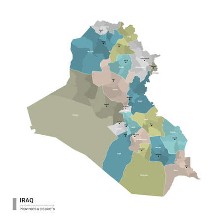 Iraq higt detailed map with subdivisions. Administrative map of Iraq with districts and cities name, colored by states and administrative districts. Vector illustration. Ilustração