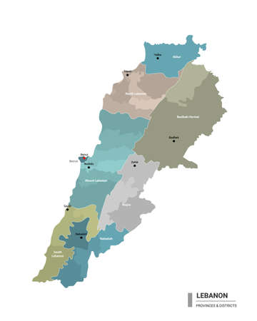 Lebanon higt detailed map with subdivisions. Administrative map of Lebanon with districts and cities name, colored by states and administrative districts. Vector illustration.