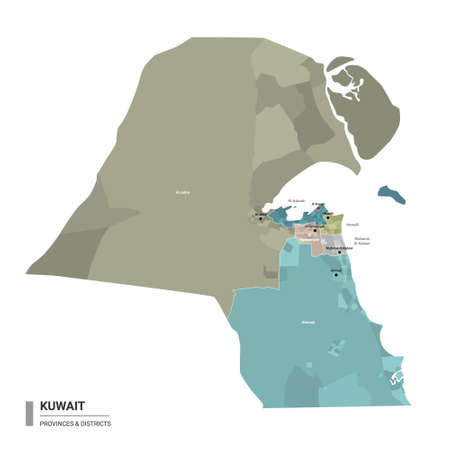 Kuwait higt detailed map with subdivisions. Administrative map of Kuwait with districts and cities name, colored by states and administrative districts. Vector illustration. Ilustração