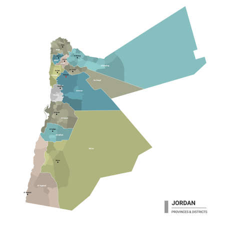 Jordan higt detailed map with subdivisions. Administrative map of Jordan with districts and cities name, colored by states and administrative districts. Vector illustration. Ilustração