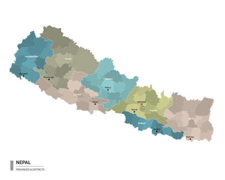 Nepal higt detailed map with subdivisions. Administrative map of Nepal with districts and cities name, colored by states and administrative districts. Vector illustration.