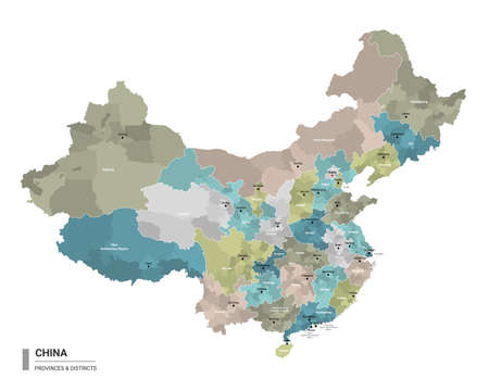 China higt detailed map with subdivisions. Administrative map of China with districts and cities name, colored by states and administrative districts. Vector illustration.