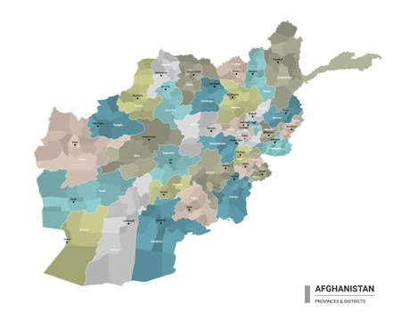 Afghanistan higt detailed map with subdivisions. Administrative map of Afghanistan with districts and cities name, colored by states and administrative districts. Vector illustration.