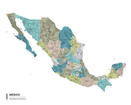 Mexico higt detailed map with subdivisions. Administrative map of Mexico with districts and cities name, colored by states and administrative districts. Vector illustration.