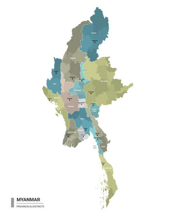 Myanmar higt detailed map with subdivisions. Administrative map of Myanmar with districts and cities name, colored by states and administrative districts. Vector illustration.