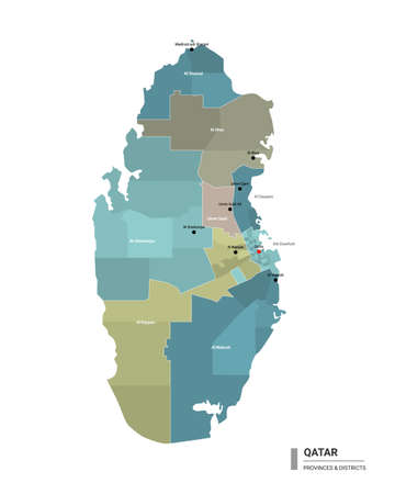 Qatar higt detailed map with subdivisions. Administrative map of Qatar with districts and cities name, colored by states and administrative districts. Vector illustration.