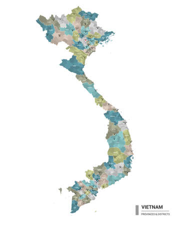 Vietnam higt detailed map with subdivisions. Administrative map of Vietnam with districts and cities name, colored by states and administrative districts. Vector illustration. Vecteurs