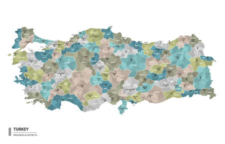 Turkey higt detailed map with subdivisions. Administrative map of Turkey with districts and cities name, colored by states and administrative districts. Vector illustration.