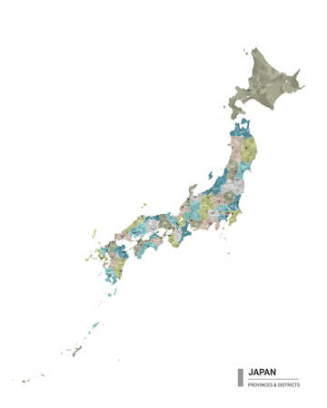 Japan higt detailed map with subdivisions. Administrative map of Japan with districts and cities name, colored by states and administrative districts. Vector illustration.