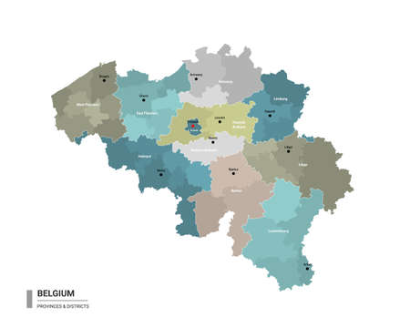 Belgium higt detailed map with subdivisions. Administrative map of Belgium with districts and cities name, colored by states and administrative districts. Vector illustration. Vector Illustratie