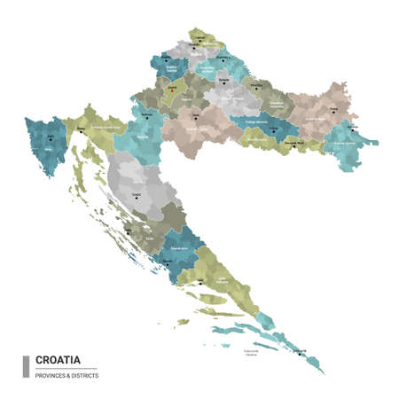 Croatia higt detailed map with subdivisions. Administrative map of Croatia with districts and cities name, colored by states and administrative districts. Vector illustration. 向量圖像