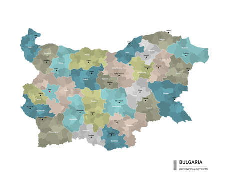 Bulgaria higt detailed map with subdivisions. Administrative map of Bulgaria with districts and cities name, colored by states and administrative districts. Vector illustration. 向量圖像
