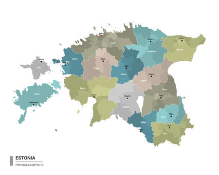 Estonia higt detailed map with subdivisions. Administrative map of Estonia with districts and cities name, colored by states and administrative districts. Vector illustration. 向量圖像