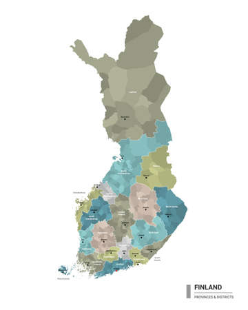 Finland higt detailed map with subdivisions. Administrative map of Finland with districts and cities name, colored by states and administrative districts. Vector illustration.