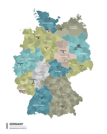 Germany higt detailed map with subdivisions. Administrative map of Germany with districts and cities name, colored by states and administrative districts. Vector illustration. 向量圖像