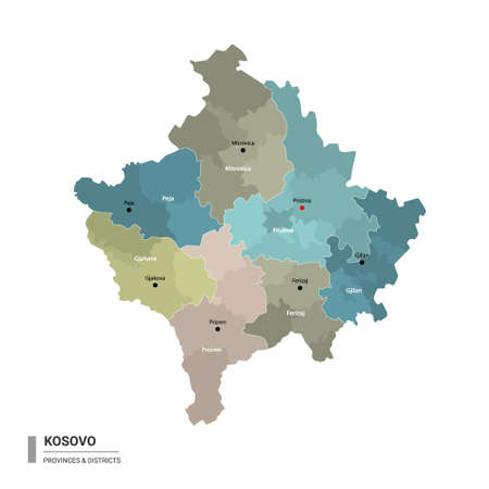 Kosovo higt detailed map with subdivisions. Administrative map of Kosovo with districts and cities name, colored by states and administrative districts. Vector illustration.