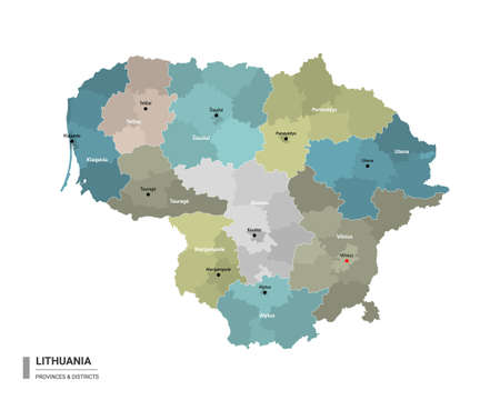 Lithuania higt detailed map with subdivisions. Administrative map of Lithuania with districts and cities name, colored by states and administrative districts. Vector illustration. Ilustrace