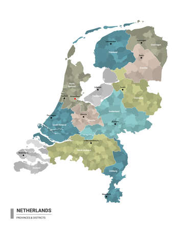 Netherlands higt detailed map with subdivisions. Administrative map of Netherlands with districts and cities name, colored by states and administrative districts. Vector illustration.