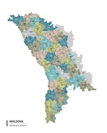 Moldova higt detailed map with subdivisions. Administrative map of Moldova with districts and cities name, colored by states and administrative districts. Vector illustration.