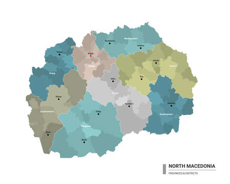 North Macedonia higt detailed map with subdivisions. Administrative map of North Macedonia with districts and cities name, colored by states and administrative districts. Vector illustration.