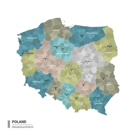 Poland higt detailed map with subdivisions. Administrative map of Poland with districts and cities name, colored by states and administrative districts. Vector illustration. Ilustracja