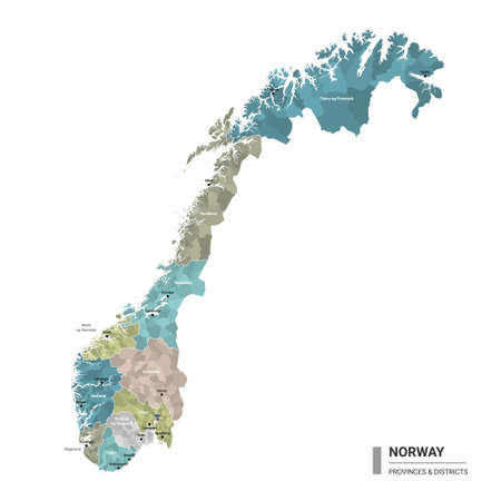 Norway higt detailed map with subdivisions. Administrative map of Norway with districts and cities name, colored by states and administrative districts. Vector illustration. 向量圖像