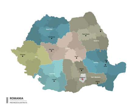 Romania higt detailed map with subdivisions. Administrative map of Romania with districts and cities name, colored by states and administrative districts. Vector illustration.