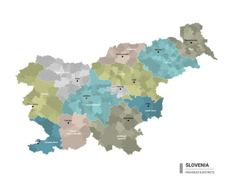 Slovenia higt detailed map with subdivisions. Administrative map of Slovenia with districts and cities name, colored by states and administrative districts. Vector illustration.