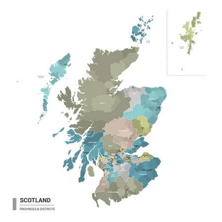 Scotland higt detailed map with subdivisions. Administrative map of Scotland with districts and cities name, colored by states and administrative districts. Vector illustration.