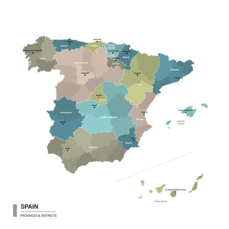 Spain higt detailed map with subdivisions. Administrative map of Spain with districts and cities name, colored by states and administrative districts. Vector illustration. 일러스트
