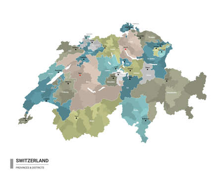 Switzerland higt detailed map with subdivisions. Administrative map of Switzerland with districts and cities name, colored by states and administrative districts. Vector illustration.