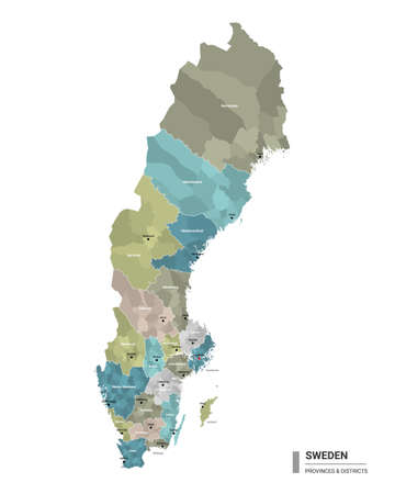 Sweden higt detailed map with subdivisions. Administrative map of Sweden with districts and cities name, colored by states and administrative districts. Vector illustration.