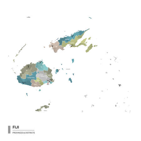 Fiji higt detailed map with subdivisions. Administrative map of Fiji with districts and cities name, colored by states and administrative districts. Vector illustration. 向量圖像