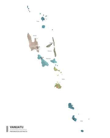 Vanuatu higt detailed map with subdivisions. Administrative map of Vanuatu with districts and cities name, colored by states and administrative districts. Vector illustration.